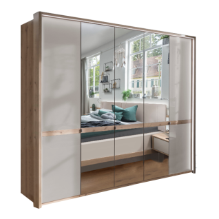 Wiemann Barcelona Drehtürenschrank 5-türig in Bianco-Eiche-Nachbildung mit 3 Spiegel- und 2 Glastüren optional mit Passepartout Schrankhöhe wählbar