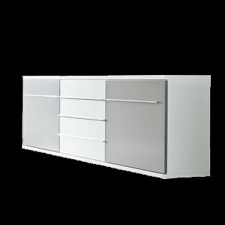 Loddenkemper Kito Sideboard 7432 in Lack Weiß und Lack Soft Grau mit zwei Türen und drei Schubkästen Kommode für Ihr Wohnzimmer oder Esszimmer