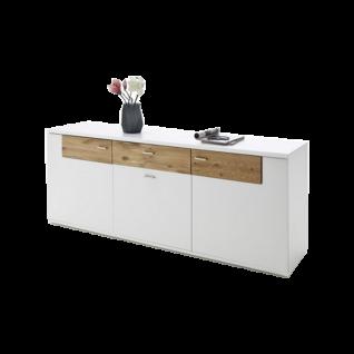 MCA Furniture Kansas KAN1BT01 Sideboard für Ihr Wohnzimmer Front Weiß matt lackiert Korpus außen Weiß matt lackiert innen Weiß Melamin Nachbildung Frontabsetzung und Paneel Wildeiche Massivholz Oberfläche geölt