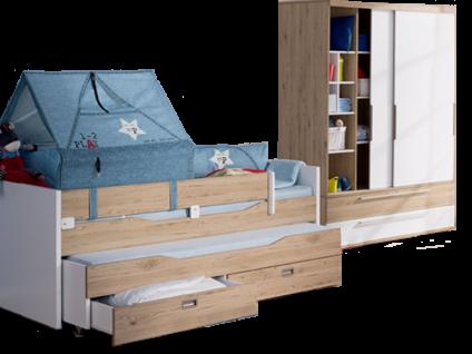 Paidi Fionn Kinderzimmer bestehend aus einem Kojenbett 90x200 cm einem 2-türigen Schiebetürenschrank 2T2S breit mit 2 Schubkästen optional mit vielen weiteren Beimöbeln und Zubehör