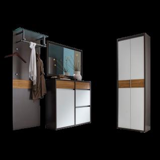 Wittenbreder Merano Garderobenkombination Nr. 01 komplette Garderobe für Ihren Flur und Eingangsbereich 4-teilige Vorschlagskombination mit Beleuchtung in Basalt Lack matt kombiniert mit Weiß Glas mattiert Akente in Eiche Spaltholz Metallelemente in matt