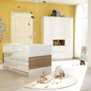Wellemöbel Malie Babyzimmer 2-tlg., bestehend aus Gitterbett und Kleiderschrank 3-türig, Front: Alpinweiß, Korpus: Kristallweiß Hochglanz, verschiedene Absetzungen wählbar