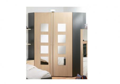 Rudolf Möbel fiftytwo Eckkleiderschrank XXL links oder rechts Innenbeleuchtung 8 Spiegel Quadrate auf den Türen, 4 Schubkästen innen inkl. LED-Aufsatzleuchte