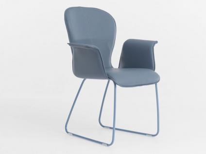 Bert Plantagie Blake Schlitten mit Bi-Color-Polsterung und geschlossenen Armlehnen Stuhl 631 für Esszimmer Esszimmerstuhl Gestellausführung und Bezug in Leder oder Stoff wählbar