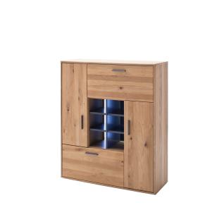 MCA Furniture Portland Highboard POR17T20 für Ihr Wohnzimmer oder Esszimmer Anrichte mit zwei Türen einem Schubkasten sechs Fächer und einer Klappe in Asteiche bianco teilmassiv mit Fronten aus Massivholz und mit Absetzungen in Anthrazit lackiert Beleucht