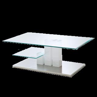MCA furniture Couchtisch Nils mit 3 Säulen Hochglanz weiß Tischplatten aus Glas Bodenplatte in Edelstahloptik Sofatisch fürs Wohnzimmer