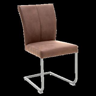 Niehoff Schwingstuhl 1901 Bezug Aberdeen Maron Schlamm Gestell aus Edelstahl Stuhl für Esszimmer und Küche