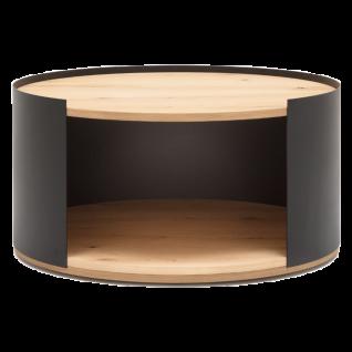 GWINNER Style Couchtisch CT101-80 mit Ablage und Sockelplatte in Balkeneiche furnier und Gestell in Metall anthrazit pulverbeschichtet - Vorschau 1