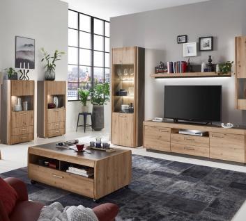 Ideal-Möbel Wohnwand Kombination Austin 52 bestehend aus Vitrine Wandregal Lowboard und Hängevitrine - Vorschau 2