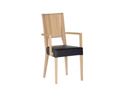 DKK Klose Sessel S15 mit Armlehnen für Esszimmer oder Küche Polsterstuhl in modischen Stoffbezügen hochwertiger Holzrücken und Stoff-oder Metallapplikation
