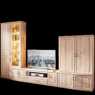 Stralsunder Jasmund Wohnkombination EB31505 sechsteilige Wohnwand mit Vitrine Lowboard und Aufsatzschrank für Wohnzimmer Wandboards Dekorausführung Rückwandspiegel und Beleuchtung wählbar
