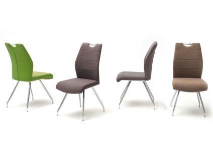 MCA furniture 4-Fuß-Stuhl mit Griffloch SILVICA A 2er-Set Bezug Front Filzoptik Masada Rücken Polyurethan Gestell Rundrohr verchromt Bezugfarbe wählbar Stuhl für Ihr Esszimmer