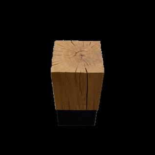 Hartmann Naturstücke Beistelltisch 1016 mit Aufsatzblock in Riffeiche Massivholz gebürstet Untergestell Metall anthrazit ***am Lager***