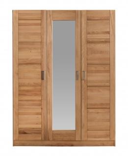 ELFO Kleiderschrank TOLLOW 3S Kernbuche Massivholz, 3türiger Schrank, Mitteltür mit Spiegel, Schlafzimmerschrank mit 3 Einlegeböden, 1 Hutboden, 1 Kleiderstange, Zubehör optional, durchgehende Lamelle an der Front, viel Stauraum für Ihr Schlafzimmer