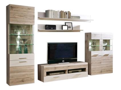 FORTE Nabou Wohnwand NBUM02 für Ihr Wohnzimmer 5-teilige Wohnkombination mit Vitrine Lowboard Highboard und zwei Wandboards Ausführung wählbar