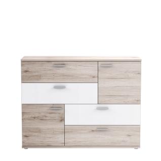 Forte Skive Kommode SKVK46 mit zwei Türen und vier Schubkästen Sideboard für Ihr Wohnzimmer Esszimmer Schlafzimmer oder Kinderzimmer Dekor wählbar - Vorschau 3