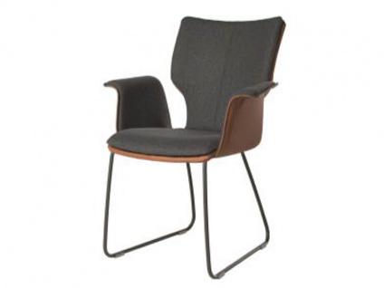 Bert Plantagie Stuhl Joni 731C Komfort Schlittengestell mit Bi-Color-Mattenpolsterung Polsterstuhl für Esszimmer Esszimmerstuhl Gestellausführung und Bezug in Leder oder Stoff wählbar