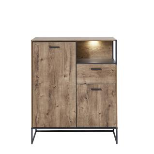 Wohn-Concept Manhattan Schuhschrank 6008VV12 mit 2 Türen 1 Schubkasten 1 Fach in Haveleiche Cognac Nachbildung und Metall Anthrazit mit Beleuchtung
