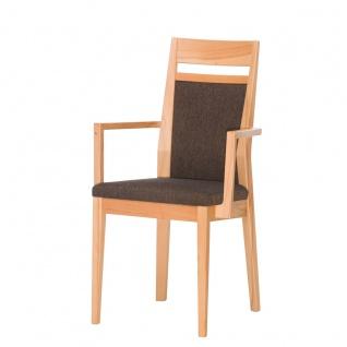 DKK Klose S34 Sessel 3393 mit Armlehnen mit gepolsterter Rückenlehne inkl Griff und gepolstertem Sitz Polsterstuhl für Esszimmer Gestell in Massivholz Ausführung Sitzkomfort und Bezug wählbar