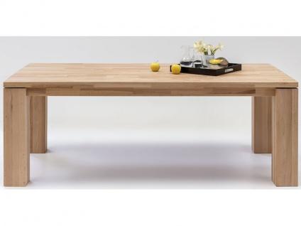 Elfo-Möbel Esstisch 6852 in Kernbuche Massivholz geölt stabverleimt ca. 200 x 100 cm mit schwebender Platte Ansteckplatte optional wählbar