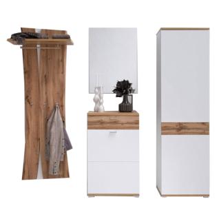 MCA furniture Garderobe Nia Garderobenkombination 1 4-teilig Art.Nr. NIA99K01 Front und Korpus weiß Melamin Nachbildung mit Absetzung Wotan Eiche Nachbildung Garderobe für Ihren Flur