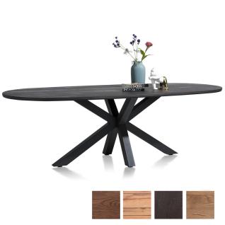 Habufa Moreni Esstisch mit Sterngestell mit furnierter Tischplatte in Eiche Holzfarbe Form und Größe wählbar