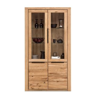 Elfo-Möbel Greta Vitrine groß 2553 mit zwei Holztüren unten zwei Glastüren oben Standvitrine mit Fronten in Eiche Massivholz geölt mit durchgehenden Lamellen und Korpus und Deckelplatte im Dekor für Ihr Gästezimmer Wohnzimmer oder Esszimmer
