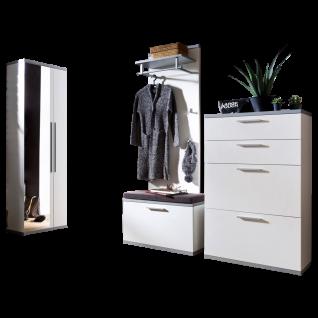 Wittenbreder Come In Garderobenkombination Nr. 05 komplette Garderobe für Ihren Flur und Eingangsbereich 5-teilige Vorschlagskombination in Weiß Lack und Grau Lack mit Alternativgriff matt Metallteile in matt