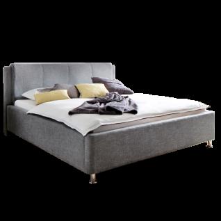 Meise Möbel Polsterbett El Paso mit Stoffbezug Culture in grau inklusive Bettkasten und Lattenrost Kopfteil mit Kissenüberzug Metallfüsse in Chromoptik Liegefläche wählbar