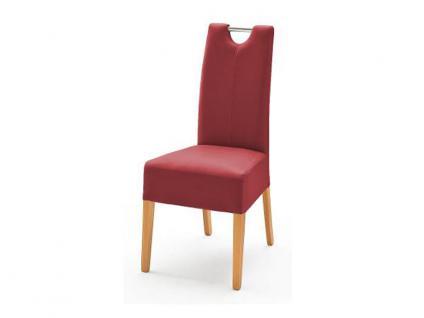 MCA Direkt Stuhl Enya Bezug Argentina in der Farbe rot 2er Set Polsterstuhl für Wohnzimmer und Esszimmer Ausführung 4 Fuß Massivholzgestell und Chromgriff