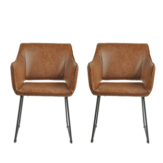 Sit Möbel SIT&CHAIRS Armlehnstuhl im 2er-Set Bezug Kunstlder braun Gestell aus Stahl