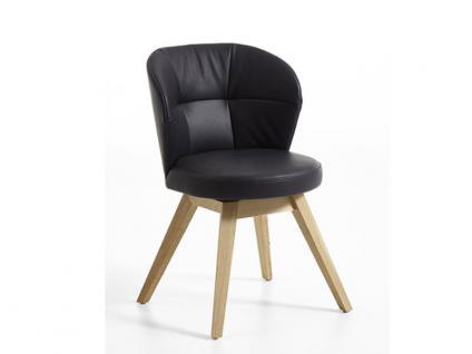Hartmann Runa 8410 Stuhl Romy gepolstert mit Elastic-Aktiv-Federung Gestell aus Massivholz Kerneiche natur gebürstet Polsterstuhl passend zur Solobank Romy für Esszimmer Bezug in Stoff oder Leder wählbar