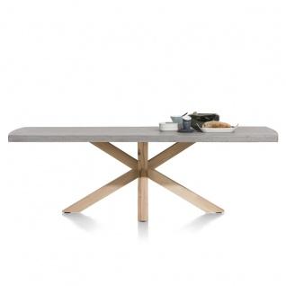 Habufa Esstisch Maestro 38560 und 38562 Tischplatte in Betonoptik Gestell aus Massivholz Wildeiche sternförmig Tischgröße wählbar