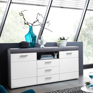 Wohn-Concept Paris Sideboard 40 58 WT 20 moderne Kommode mit Türen Schubkästen und offenem Fach in Weiß matt Perfect Touch und Betonoxid dunkel Nachbildung für Wohnzimmer oder Esszimmer - Vorschau 2
