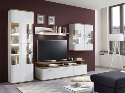 IDEAL-Möbel Wohnwand Paris I Kombination 27 mit Vitrine Hängevitrine und TV-Element Anbauwand für Wohnzimmer Ausführung in weiß oder graphit wählbar