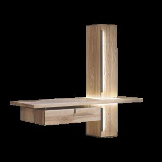 Thielemeyer Cubo TV-Element mit Hochschrank Wildeiche Massivholz optional mit LED-Griff- und LED-Ausschnitt-Beleuchtung