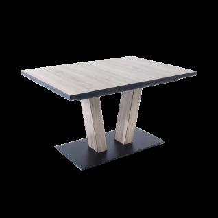 K+W Silaxx Esstisch 5147 in einer exklusiven Holz Nachbildung in Eiche San Remo grau und mit einer optionalen Schiebe-/ Ansteckplatte für einen exklusiven Auszug für Ihren Wohn- und Essbereich