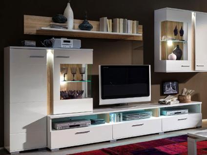 Innostyle TV  / Wohnwand SPOT Weiß Komplett Mit Aufsatzvitrine,  Hängevitrine, 2 Unterteile,