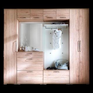 Wittenbreder Roubaix Vorschlagskombination Nr. 09 komplette Garderobe für Ihren Flur und Eingangsbereich 8-teiliges Garderoben-Set im Dekor Sanremo Eiche und Weiß matt