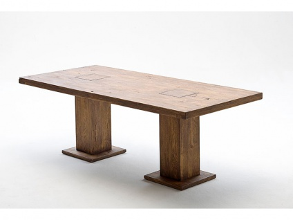 MCA Furniture MANCHESTER Säulentisch aus Handarbeit echte Unikate in Eiche Massivholz verschienden Ausführungen und Größen wählbar