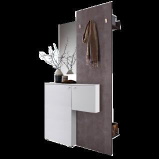 MCA Furniture Zara Garderobenkombination 1 ZARWBK01 Ausführung in weiß Melamin Garderobenelement Beton Optik Türen und Schubkästen gedämpft für Ihren Flur