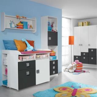 Rauch Skate Babyzimmer 3- teilig bestehend aus Drehtürenschrank Wickelkommode und babybett inklusive lattenroste Liegefläche ca. 70 x 140 cm Farbausführung wählbar optional mit Regal und Wandregal - Vorschau 5