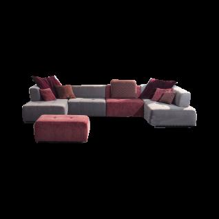 K+W Polstermöbel Wohnlandschaft Mosaik 7067 in zwei einmaligen Stoffbezügen bestehend aus fünf Elementen und mit einer hochwertigen Kaltschaumpolsterung im Sitz und einer einmaligen Schaumpolsterung im Rücken