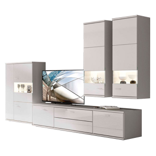Stralsunder Largo Wohnkombination EB33003 sechsteilige Wohnwand mit Highboard Lowboard und Hängevitrinen für Ihr Wohnzimmer Wandboard Beleuchtung und Dekorausführung wählbar