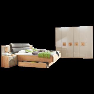 Disselkamp Cena Schlafzimmer Doppelbett Drehtürenkleiderschrank Nachtkonsolen mit Paneel Korpus Wildeiche Echtholzfurnier Front Hochglanz Taupe