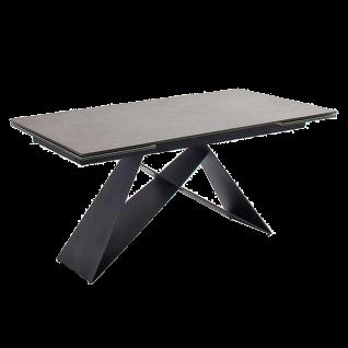 MCA furniture Esstisch Kobe ca. 160x 90 cm Tischplatte Keramik/ Sicherheitsglas anthrazit Metallgestell schwarz matt lackiert