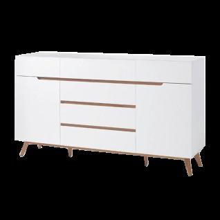 MCA furniture Cervo Sideboard 48644WE5 weiß matt lackiert für Wohnzimmer mit 6 Schubkästen 2 Türen Absetzung Asteiche furniertes Massivholz