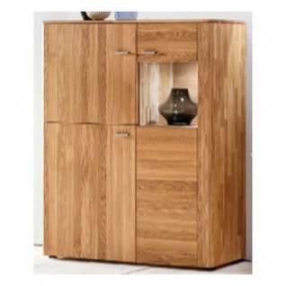 Standard Furniture Kopenhagen Vitrinenschrank rechts Massivholz Kernbuche geölt, Eiche natur geölt und Eiche bianco geölt ideal für Ihr Wohnzimmer oder Esszimmer