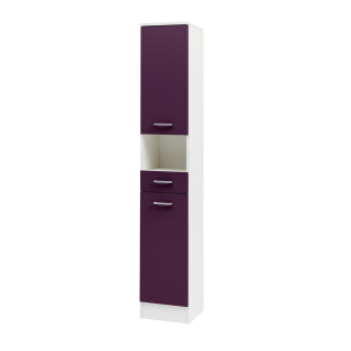 W.Schildmeyer Badmöbel Lorenz Hochschrank H300 mit zwei Türen einem Schubkasten und einem offenen Fach für Badezimmer Korpus Perlweiß Front wählbar - Vorschau 2