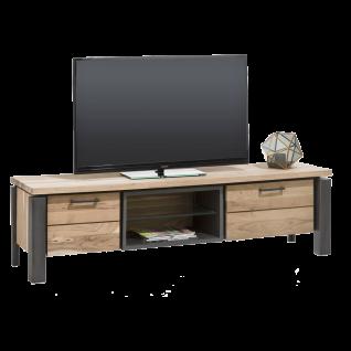 Habufa Charleston TV-Board 36182 Sideboard mit Beleuchtung ca. 150 cm Kikar teilmassiv Metallgestell anthrazit